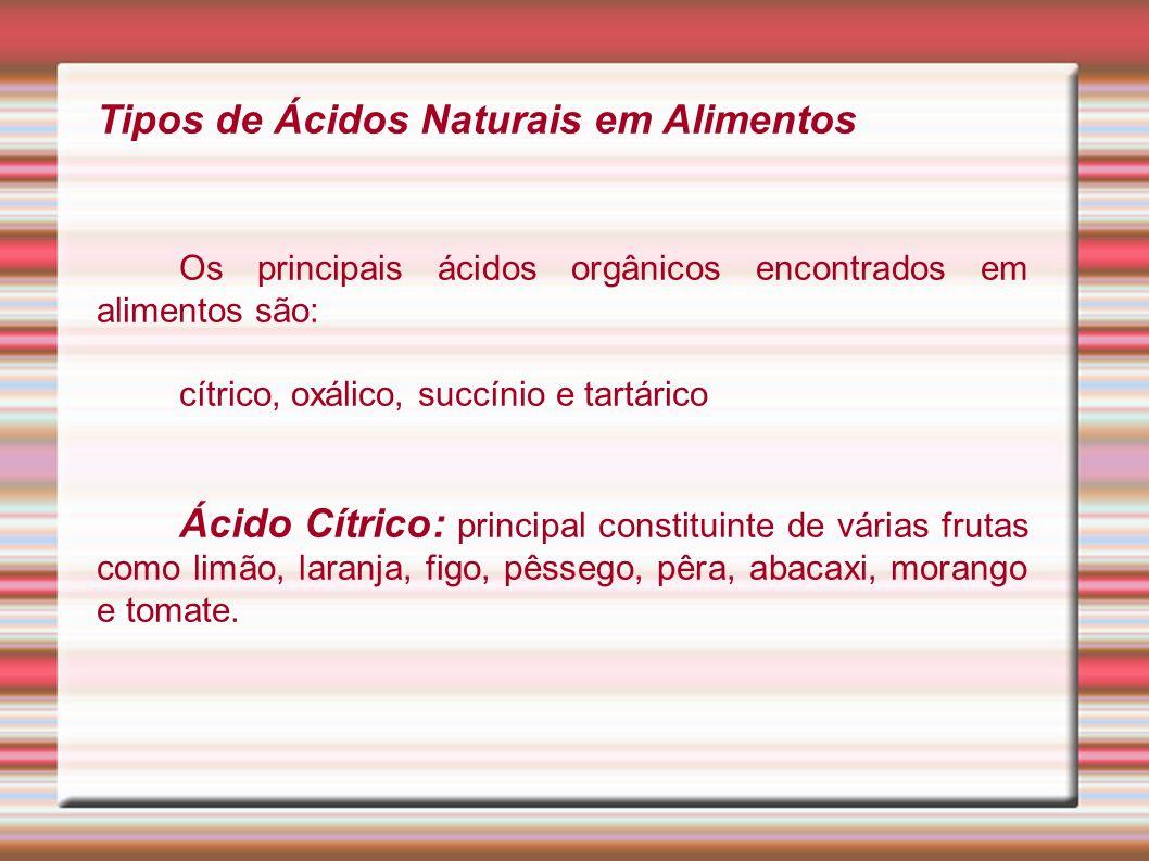 Tipos de Ácidos Naturais em Alimentos Os principais ácidos orgânicos encontrados em alimentos são: cítrico, oxálico, succínio e tartárico Ácido Cítric