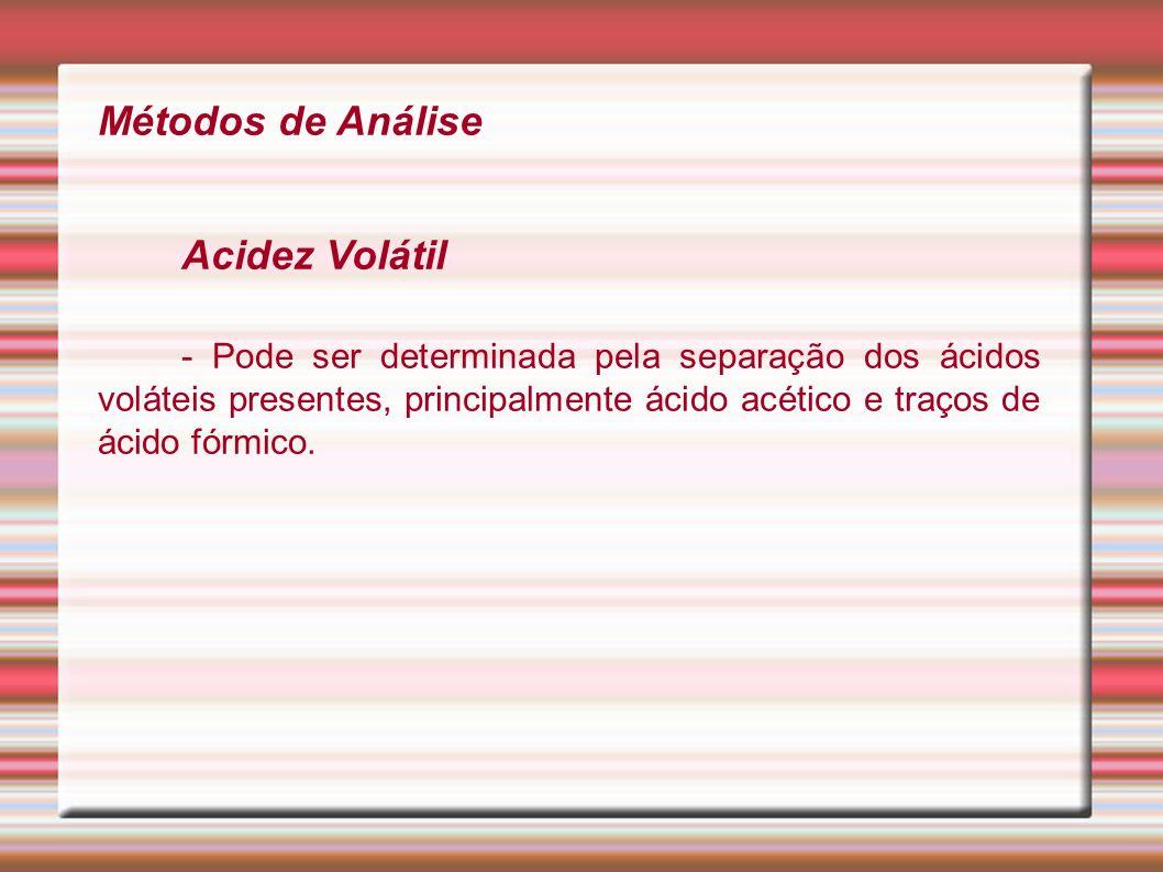 Métodos de Análise Acidez Volátil - Pode ser determinada pela separação dos ácidos voláteis presentes, principalmente ácido acético e traços de ácido