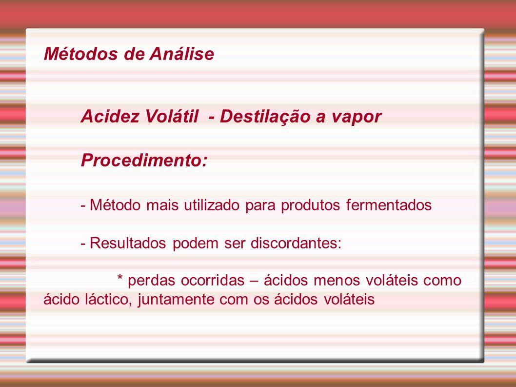 Métodos de Análise Acidez Volátil - Destilação a vapor Procedimento: - Método mais utilizado para produtos fermentados - Resultados podem ser discorda