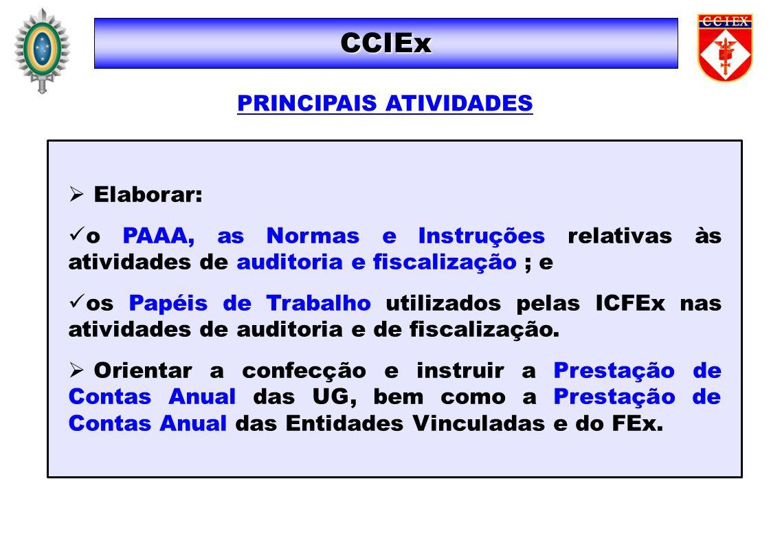Elaborar: o PAAA, as Normas e Instruções relativas às atividades de auditoria e fiscalização ; e os Papéis de Trabalho utilizados pelas ICFEx nas ativ