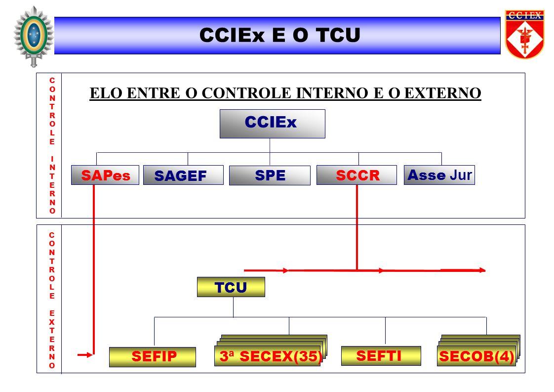 CCIEx E O TCU CONTROLEINTERNOCONTROLEINTERNO CONTROLEEXTERNOCONTROLEEXTERNO CCIEx SAGEF SAPes SCCRSPE TCU SEFIP ELO ENTRE O CONTROLE INTERNO E O EXTER