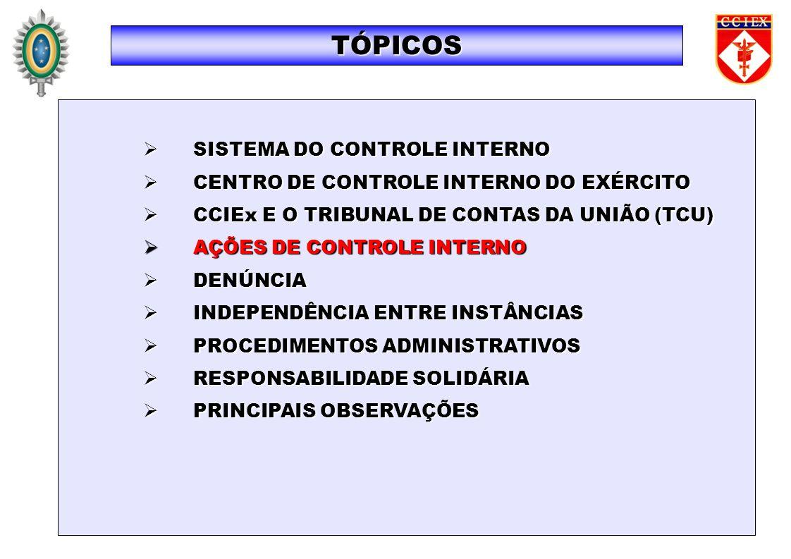 SISTEMA DO CONTROLE INTERNO SISTEMA DO CONTROLE INTERNO CENTRO DE CONTROLE INTERNO DO EXÉRCITO CENTRO DE CONTROLE INTERNO DO EXÉRCITO CCIEx E O TRIBUN