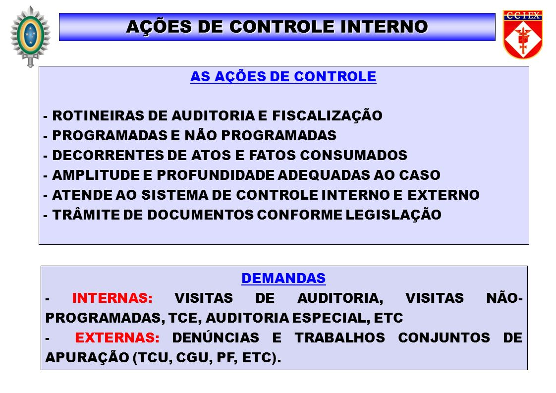 AS AÇÕES DE CONTROLE - ROTINEIRAS DE AUDITORIA E FISCALIZAÇÃO - PROGRAMADAS E NÃO PROGRAMADAS - DECORRENTES DE ATOS E FATOS CONSUMADOS - AMPLITUDE E P
