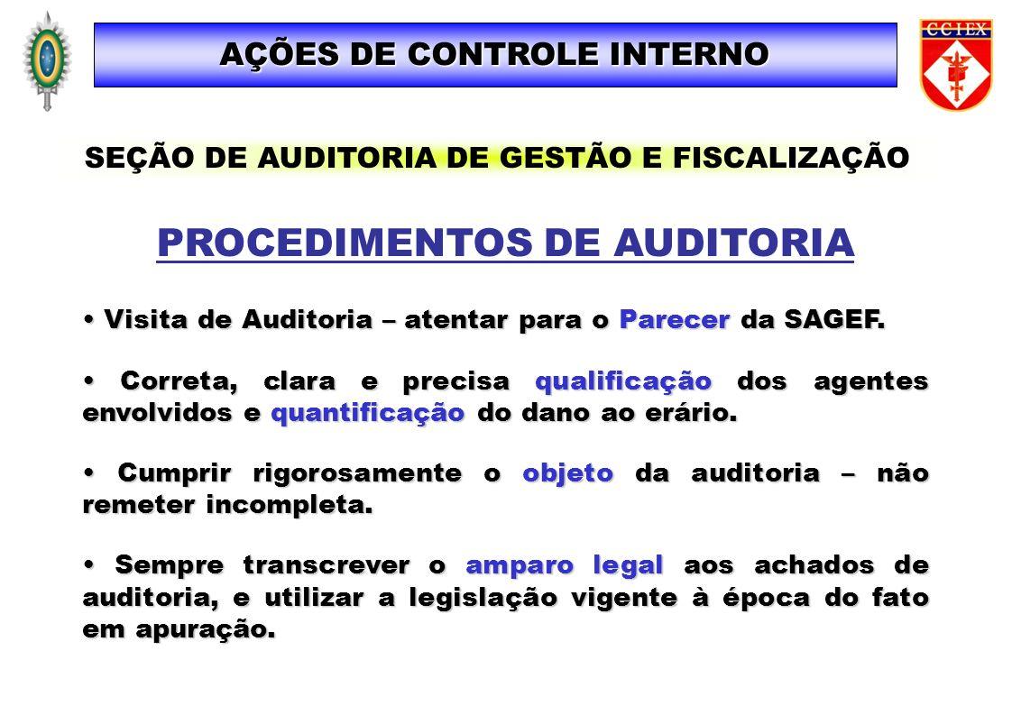PROCEDIMENTOS DE AUDITORIA Visita de Auditoria – atentar para o Parecer da SAGEF. Visita de Auditoria – atentar para o Parecer da SAGEF. Correta, clar