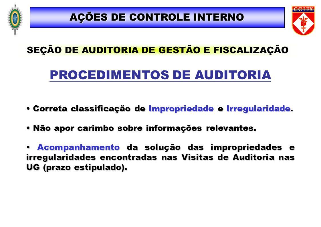 AÇÕES DE CONTROLE INTERNO PROCEDIMENTOS DE AUDITORIA Correta classificação de Impropriedade e Irregularidade. Correta classificação de Impropriedade e