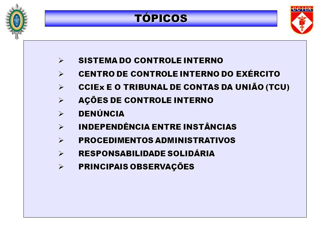 SISTEMA DO CONTROLE INTERNO SISTEMA DO CONTROLE INTERNO CENTRO DE CONTROLE INTERNO DO EXÉRCITO CENTRO DE CONTROLE INTERNO DO EXÉRCITO CCIEx E O TRIBUNAL DE CONTAS DA UNIÃO (TCU) CCIEx E O TRIBUNAL DE CONTAS DA UNIÃO (TCU) AÇÕES DE CONTROLE INTERNO AÇÕES DE CONTROLE INTERNO DENÚNCIA DENÚNCIA INDEPENDÊNCIA ENTRE INSTÂNCIAS INDEPENDÊNCIA ENTRE INSTÂNCIAS PROCEDIMENTOS ADMINISTRATIVOS PROCEDIMENTOS ADMINISTRATIVOS RESPONSABILIDADE SOLIDÁRIA RESPONSABILIDADE SOLIDÁRIA PRINCIPAIS OBSERVAÇÕES PRINCIPAIS OBSERVAÇÕES TÓPICOS