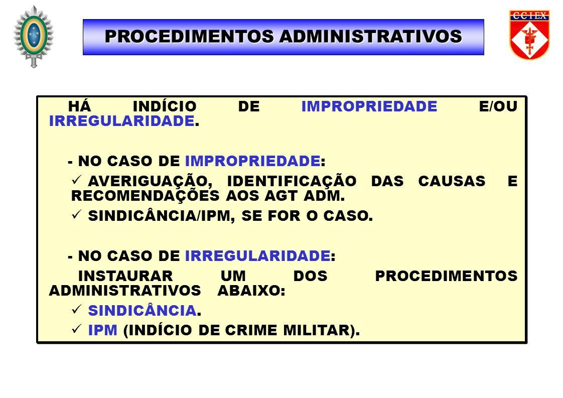 PROCEDIMENTOS ADMINISTRATIVOS HÁ INDÍCIO DE IMPROPRIEDADE E/OU IRREGULARIDADE. - NO CASO DE IMPROPRIEDADE: AVERIGUAÇÃO, IDENTIFICAÇÃO DAS CAUSAS E REC