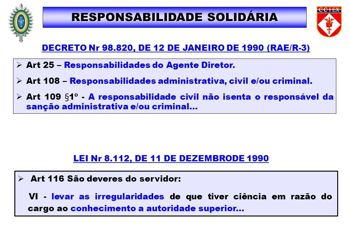 Art 25 – Responsabilidades do Agente Diretor. Art 108 – Responsabilidades administrativa, civil e/ou criminal. Art 109 §1º - A responsabilidade civil