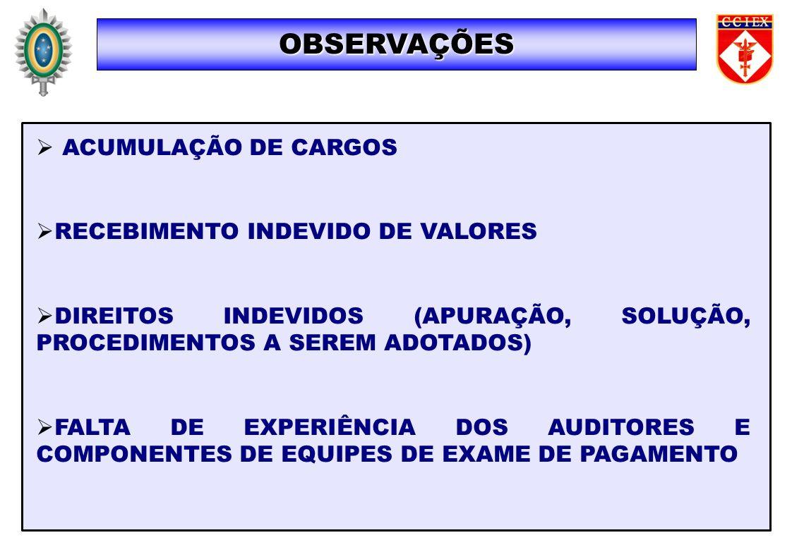 ACUMULAÇÃO DE CARGOS RECEBIMENTO INDEVIDO DE VALORES DIREITOS INDEVIDOS (APURAÇÃO, SOLUÇÃO, PROCEDIMENTOS A SEREM ADOTADOS) FALTA DE EXPERIÊNCIA DOS A