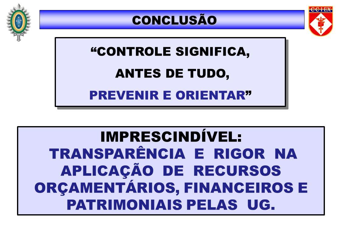IMPRESCINDÍVEL: TRANSPARÊNCIA E RIGOR NA APLICAÇÃO DE RECURSOS ORÇAMENTÁRIOS, FINANCEIROS E PATRIMONIAIS PELAS UG. CONCLUSÃO CONTROLE SIGNIFICA, ANTES