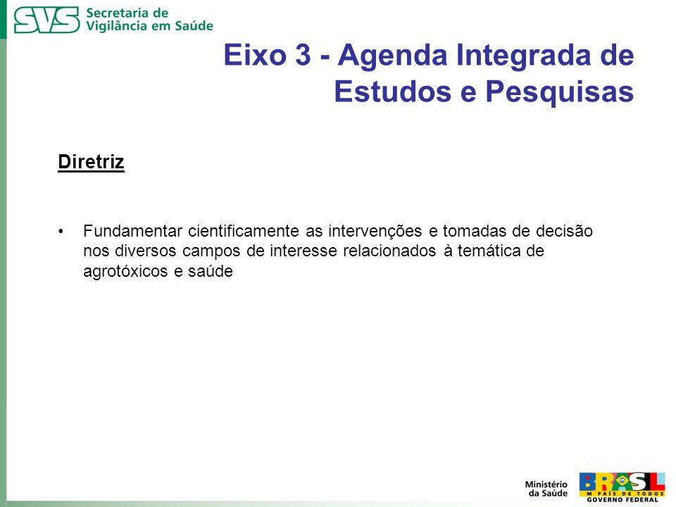 Eixo 3 - Agenda Integrada de Estudos e Pesquisas Diretriz Fundamentar cientificamente as intervenções e tomadas de decisão nos diversos campos de inte