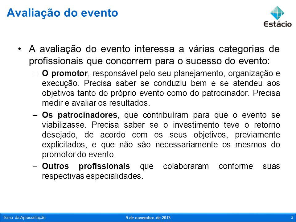 A avaliação do evento interessa a várias categorias de profissionais que concorrem para o sucesso do evento: –O promotor, responsável pelo seu planeja