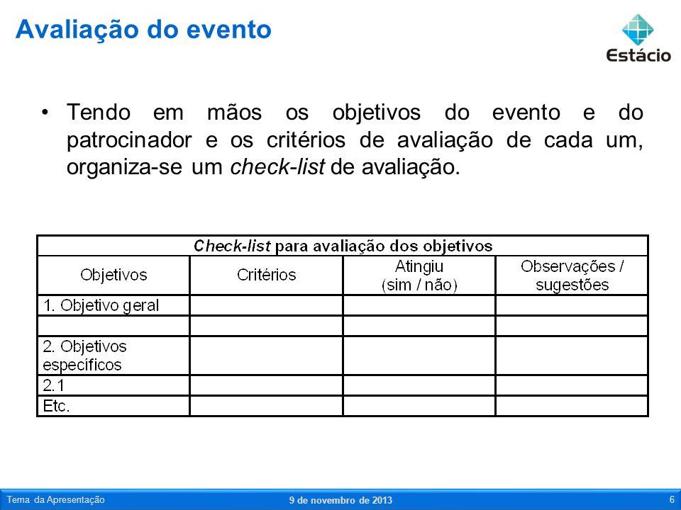 Tendo em mãos os objetivos do evento e do patrocinador e os critérios de avaliação de cada um, organiza-se um check-list de avaliação. Avaliação do ev