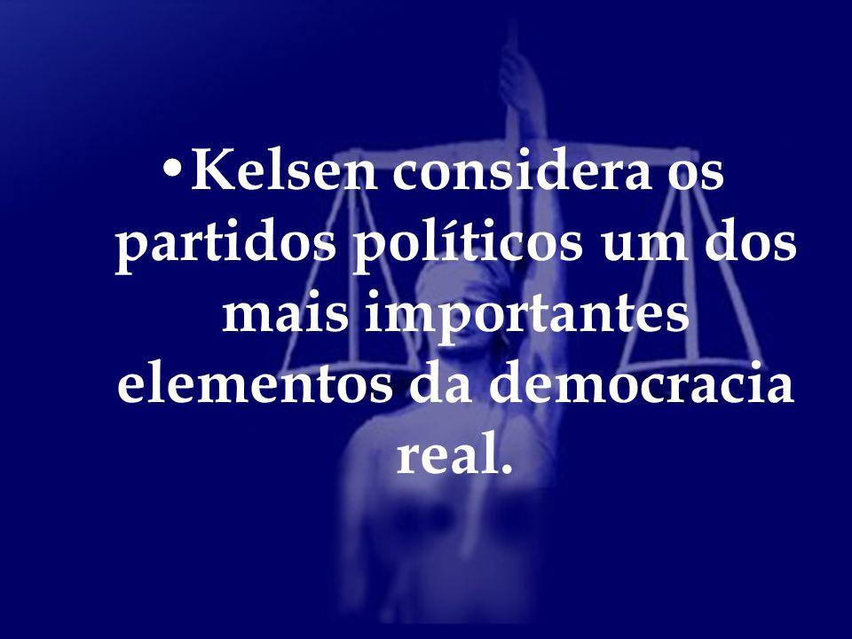 Kelsen considera os partidos políticos um dos mais importantes elementos da democracia real.