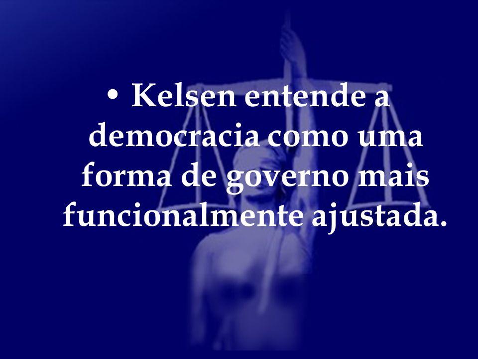 Kelsen entende a democracia como uma forma de governo mais funcionalmente ajustada.