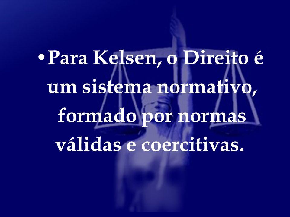 Para Kelsen, o Direito é um sistema normativo, formado por normas válidas e coercitivas.