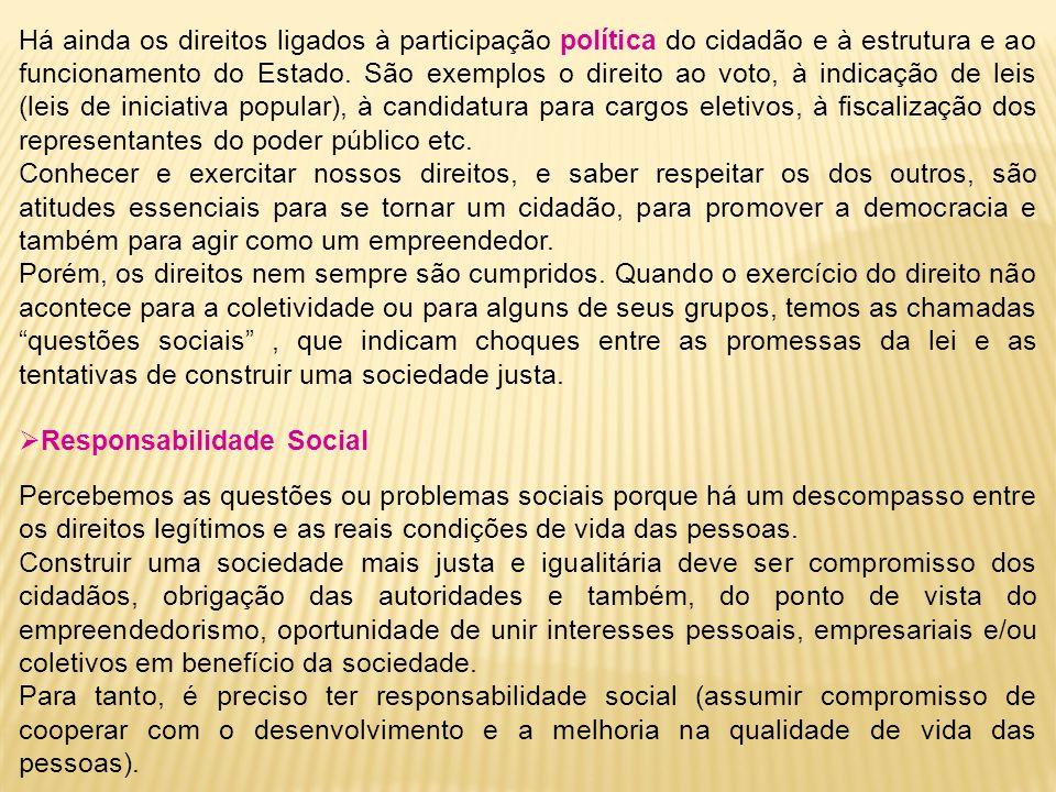 Há ainda os direitos ligados à participação política do cidadão e à estrutura e ao funcionamento do Estado. São exemplos o direito ao voto, à indicaçã