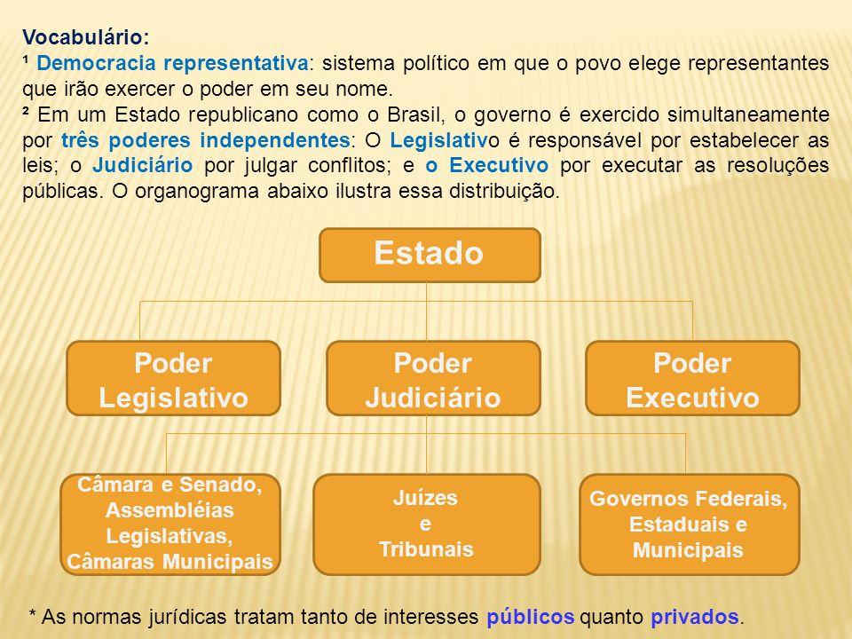 Estado Poder Legislativo Poder Judiciário Poder Executivo Câmara e Senado, Assembléias Legislativas, Câmaras Municipais Juízes e Tribunais Governos Fe