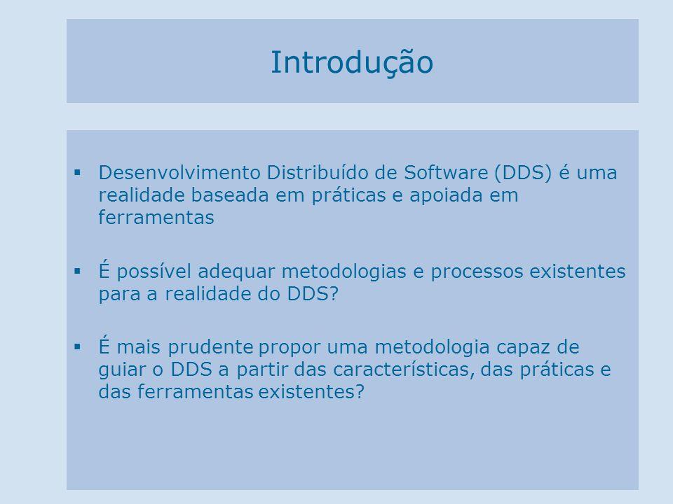 Introdução Desenvolvimento Distribuído de Software (DDS) é uma realidade baseada em práticas e apoiada em ferramentas É possível adequar metodologias