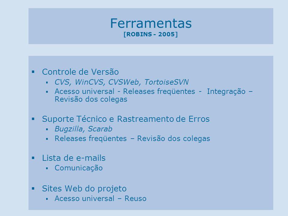 Ferramentas [ROBINS - 2005] Controle de Versão CVS, WinCVS, CVSWeb, TortoiseSVN Acesso universal - Releases freqüentes - Integração – Revisão dos cole