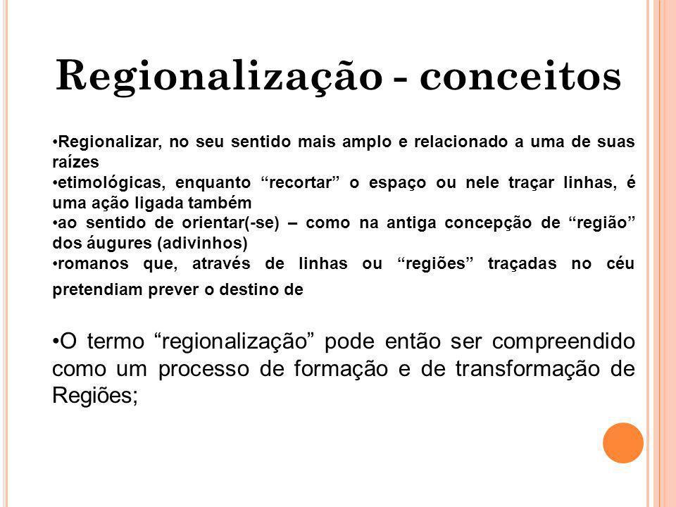 Regionalização - conceitos Regionalizar, no seu sentido mais amplo e relacionado a uma de suas raízes etimológicas, enquanto recortar o espaço ou nele