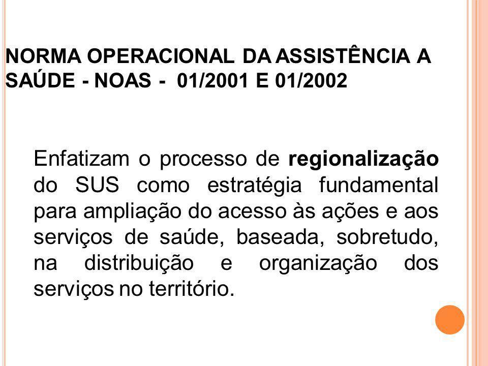 NORMA OPERACIONAL DA ASSISTÊNCIA A SAÚDE - NOAS - 01/2001 E 01/2002 Enfatizam o processo de regionalização do SUS como estratégia fundamental para amp