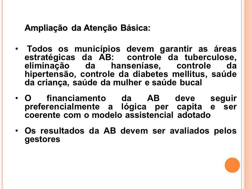 Ampliação da Atenção Básica: Todos os municípios devem garantir as áreas estratégicas da AB: controle da tuberculose, eliminação da hanseníase, contro