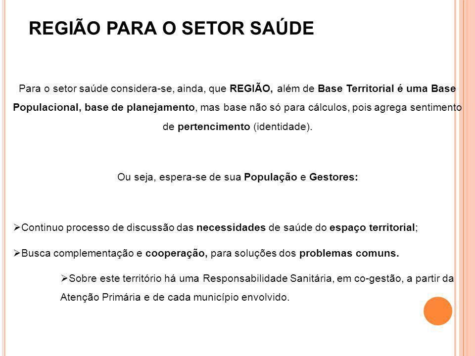 REGIÃO PARA O SETOR SAÚDE Para o setor saúde considera-se, ainda, que REGIÃO, além de Base Territorial é uma Base Populacional, base de planejamento,