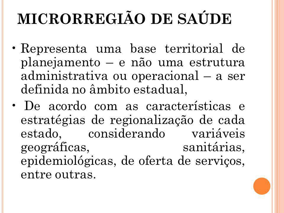 MICRORREGIÃO DE SAÚDE Representa uma base territorial de planejamento – e não uma estrutura administrativa ou operacional – a ser definida no âmbito e
