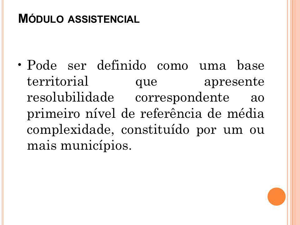 M ÓDULO ASSISTENCIAL Pode ser definido como uma base territorial que apresente resolubilidade correspondente ao primeiro nível de referência de média