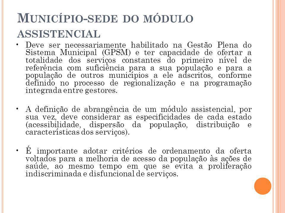 M UNICÍPIO - SEDE DO MÓDULO ASSISTENCIAL Deve ser necessariamente habilitado na Gestão Plena do Sistema Municipal (GPSM) e ter capacidade de ofertar a