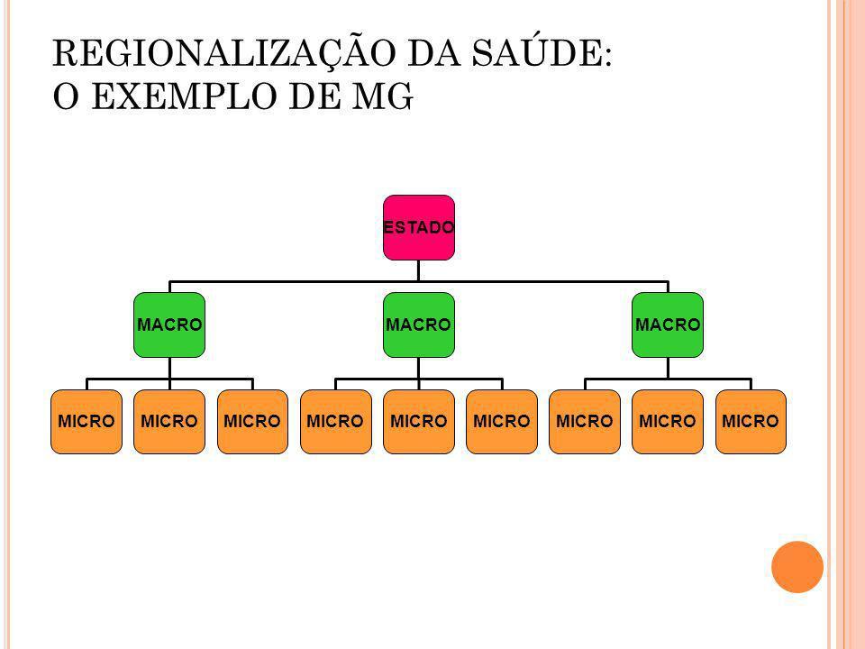 REGIONALIZAÇÃO DA SAÚDE: O EXEMPLO DE MG ESTADO MACRO MICRO