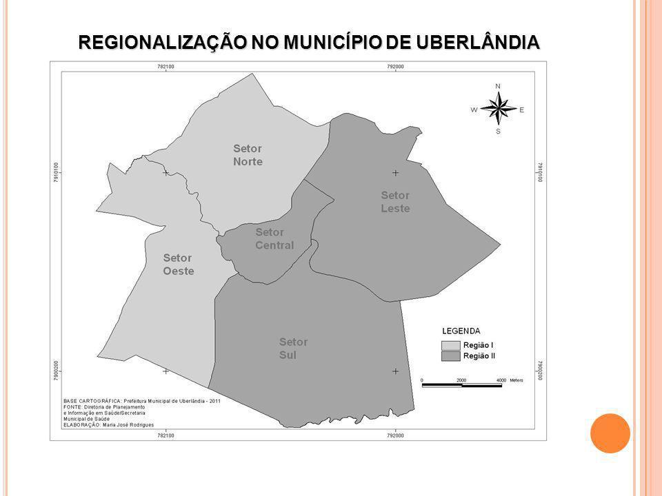 divisão de cinco setores sanitários REGIONALIZAÇÃO NO MUNICÍPIO DE UBERLÂNDIA