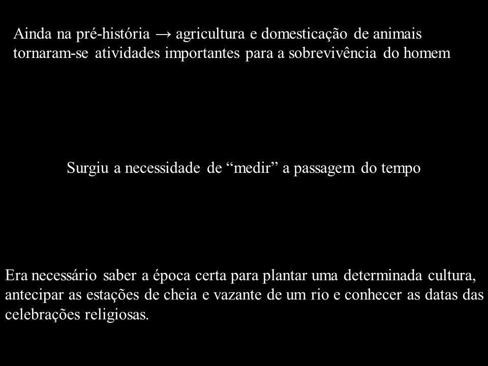 Ainda na pré-história agricultura e domesticação de animais tornaram-se atividades importantes para a sobrevivência do homem Surgiu a necessidade de m