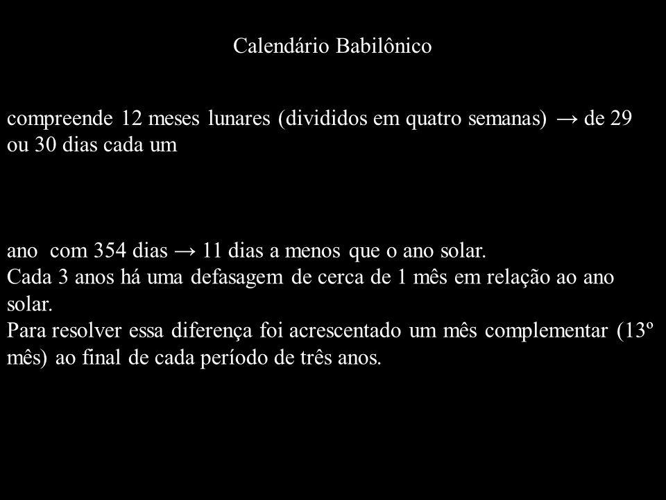 Calendário Babilônico compreende 12 meses lunares (divididos em quatro semanas) de 29 ou 30 dias cada um ano com 354 dias 11 dias a menos que o ano so