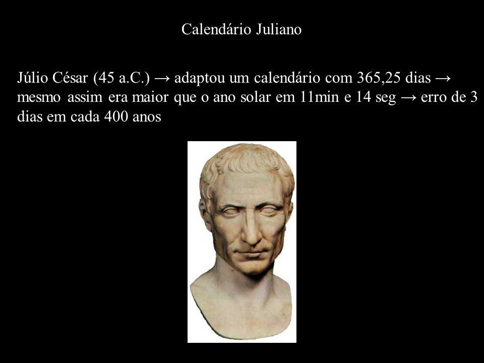 Júlio César (45 a.C.) adaptou um calendário com 365,25 dias mesmo assim era maior que o ano solar em 11min e 14 seg erro de 3 dias em cada 400 anos Ca