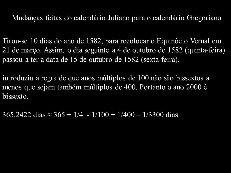 Tirou-se 10 dias do ano de 1582, para recolocar o Equinócio Vernal em 21 de março. Assim, o dia seguinte a 4 de outubro de 1582 (quinta-feira) passou