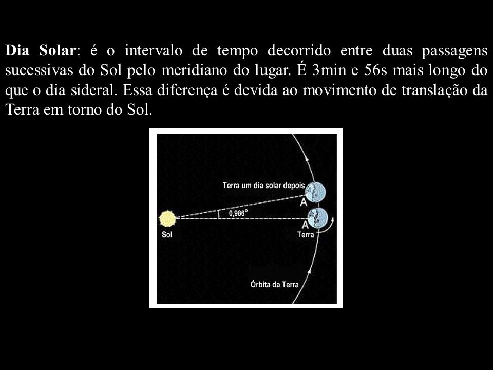 Dia Solar: é o intervalo de tempo decorrido entre duas passagens sucessivas do Sol pelo meridiano do lugar. É 3min e 56s mais longo do que o dia sider