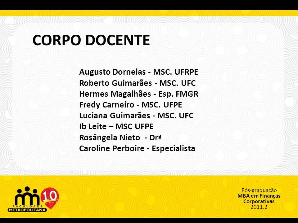 Pós-graduação MBA em Finanças Corporativas 2011.2 CORPO DOCENTE Augusto Dornelas - MSC. UFRPE Roberto Guimarães - MSC. UFC Hermes Magalhães - Esp. FMG
