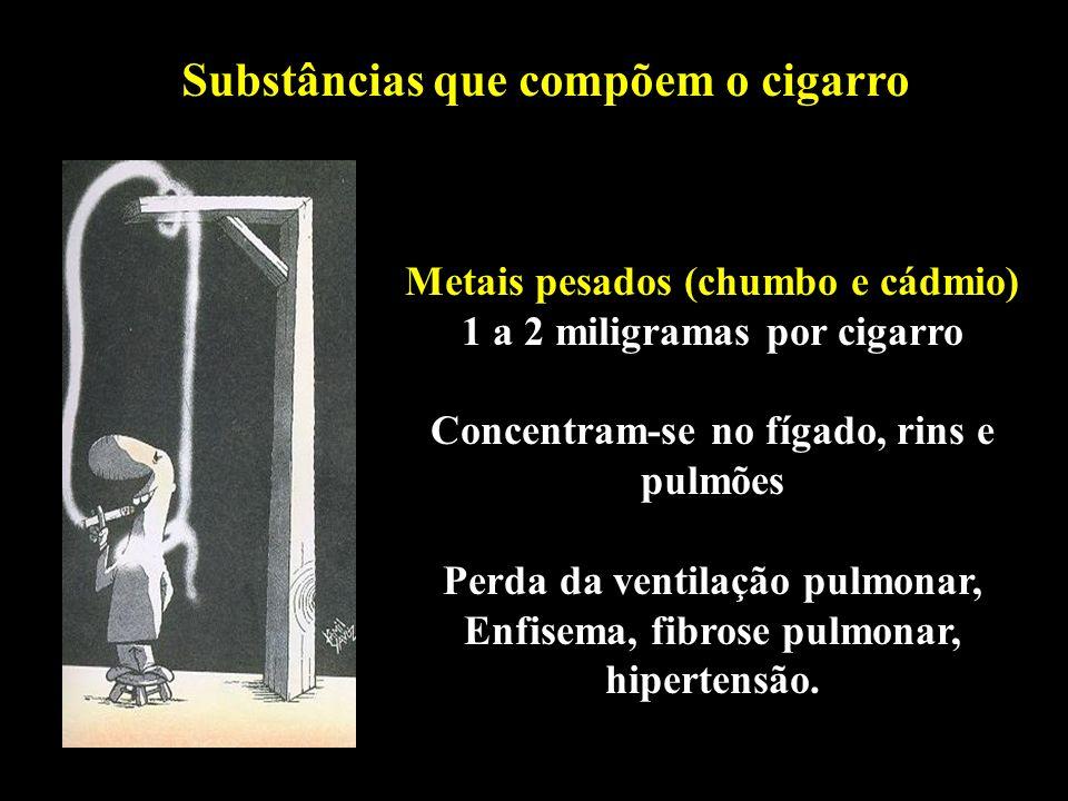 Professor: Deiber Substâncias que compõem o cigarro Metais pesados (chumbo e cádmio) 1 a 2 miligramas por cigarro Concentram-se no fígado, rins e pulm