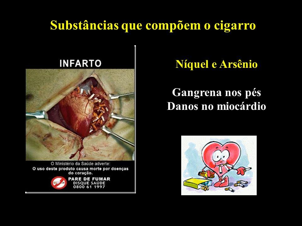 Professor: Deiber Substâncias que compõem o cigarro Níquel e Arsênio Gangrena nos pés Danos no miocárdio