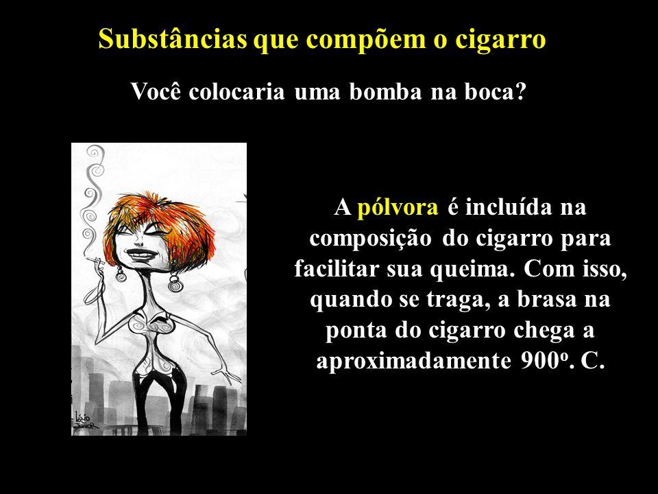 Professor: Deiber A pólvora é incluída na composição do cigarro para facilitar sua queima. Com isso, quando se traga, a brasa na ponta do cigarro cheg