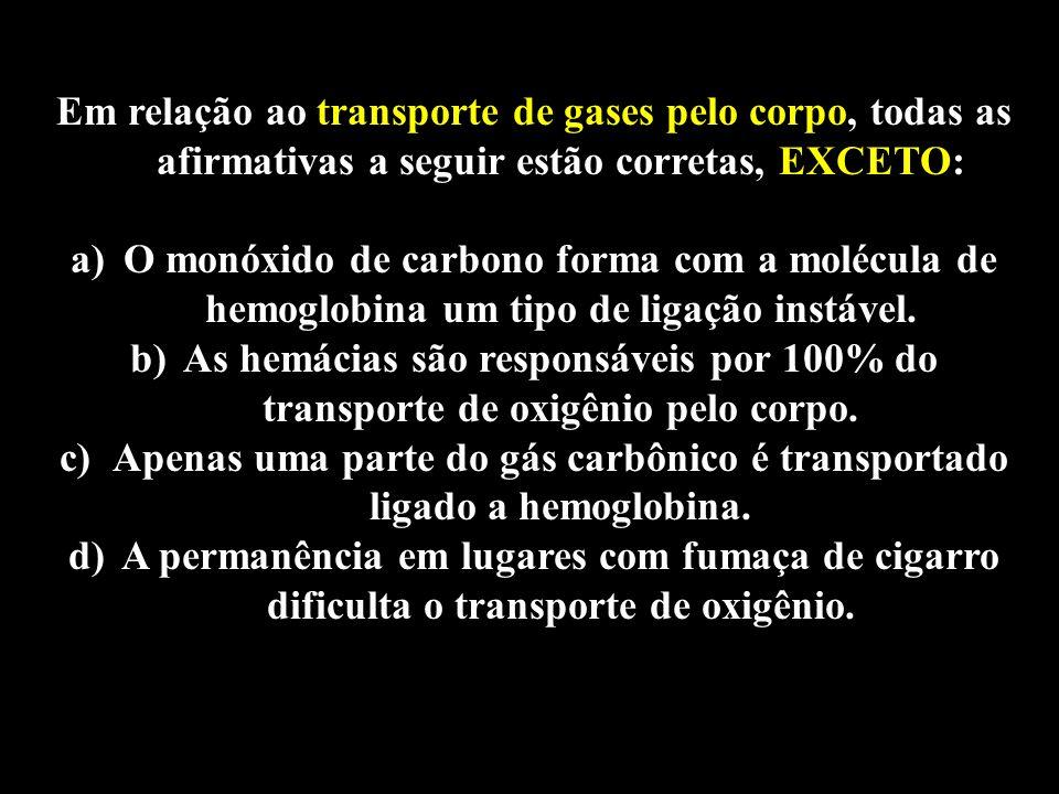 Professor: Deiber Em relação ao transporte de gases pelo corpo, todas as afirmativas a seguir estão corretas, EXCETO: a)O monóxido de carbono forma co