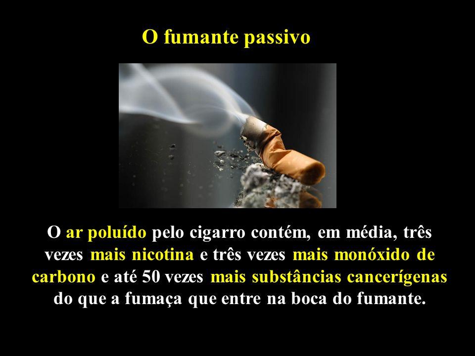 Professor: Deiber O fumante passivo O ar poluído pelo cigarro contém, em média, três vezes mais nicotina e três vezes mais monóxido de carbono e até 5