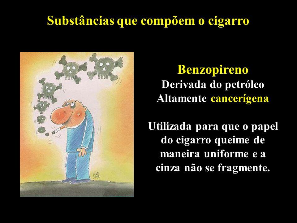 Professor: Deiber Substâncias que compõem o cigarro Benzopireno Derivada do petróleo Altamente cancerígena Utilizada para que o papel do cigarro queim