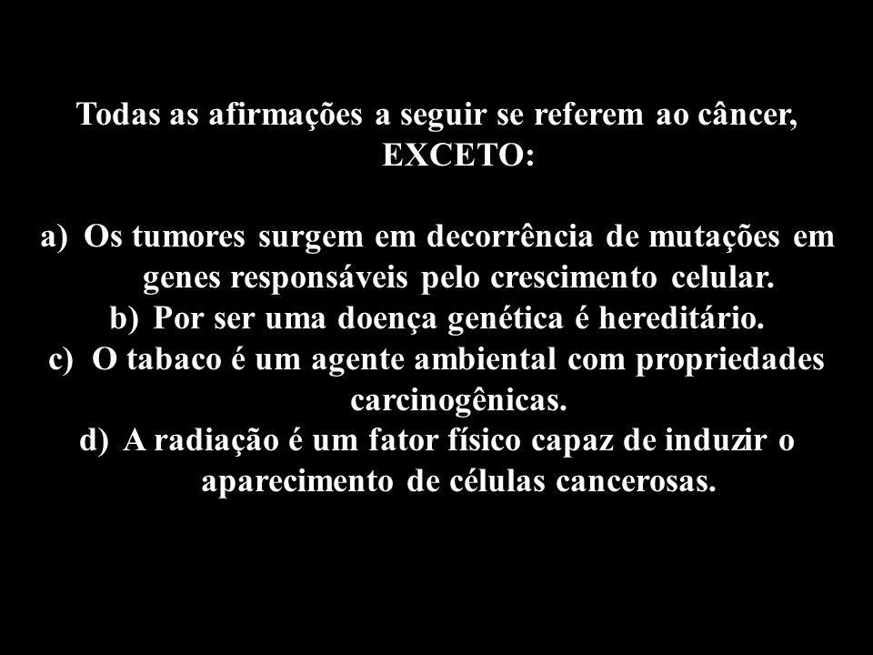 Professor: Deiber Todas as afirmações a seguir se referem ao câncer, EXCETO: a)Os tumores surgem em decorrência de mutações em genes responsáveis pelo