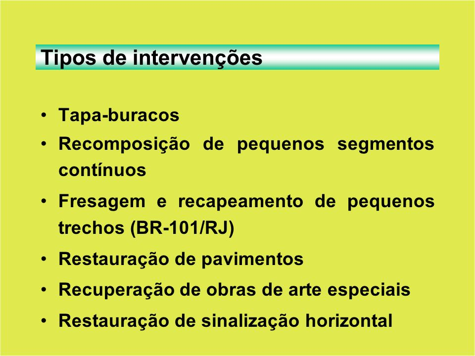 Tapa-buracos Recomposição de pequenos segmentos contínuos Fresagem e recapeamento de pequenos trechos (BR-101/RJ) Restauração de pavimentos Recuperaçã