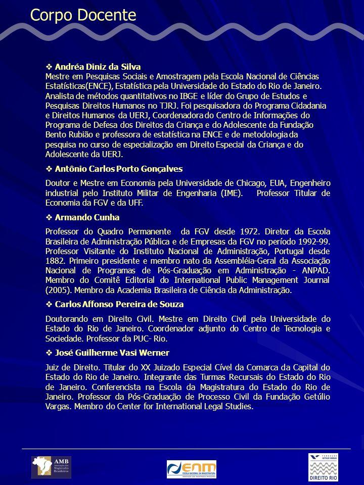 Corpo Docente Andréa Diniz da Silva Mestre em Pesquisas Sociais e Amostragem pela Escola Nacional de Ciências Estatísticas(ENCE), Estatística pela Universidade do Estado do Rio de Janeiro.
