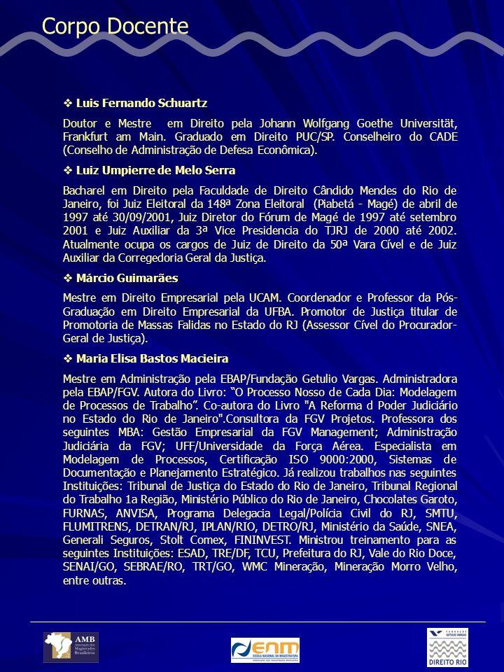 Corpo Docente Luis Fernando Schuartz Doutor e Mestre em Direito pela Johann Wolfgang Goethe Universität, Frankfurt am Main. Graduado em Direito PUC/SP