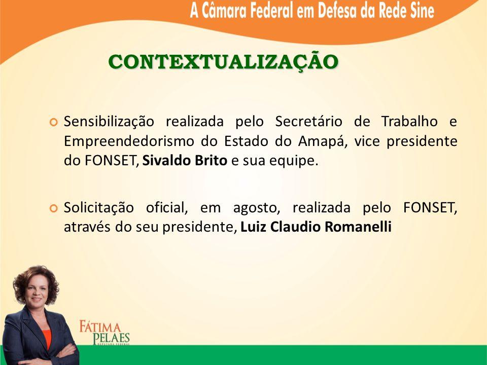 CONTEXTUALIZAÇÃO Sensibilização realizada pelo Secretário de Trabalho e Empreendedorismo do Estado do Amapá, vice presidente do FONSET, Sivaldo Brito e sua equipe.